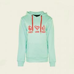 Hoodie – Peace, Love, EGGs – mintgrün